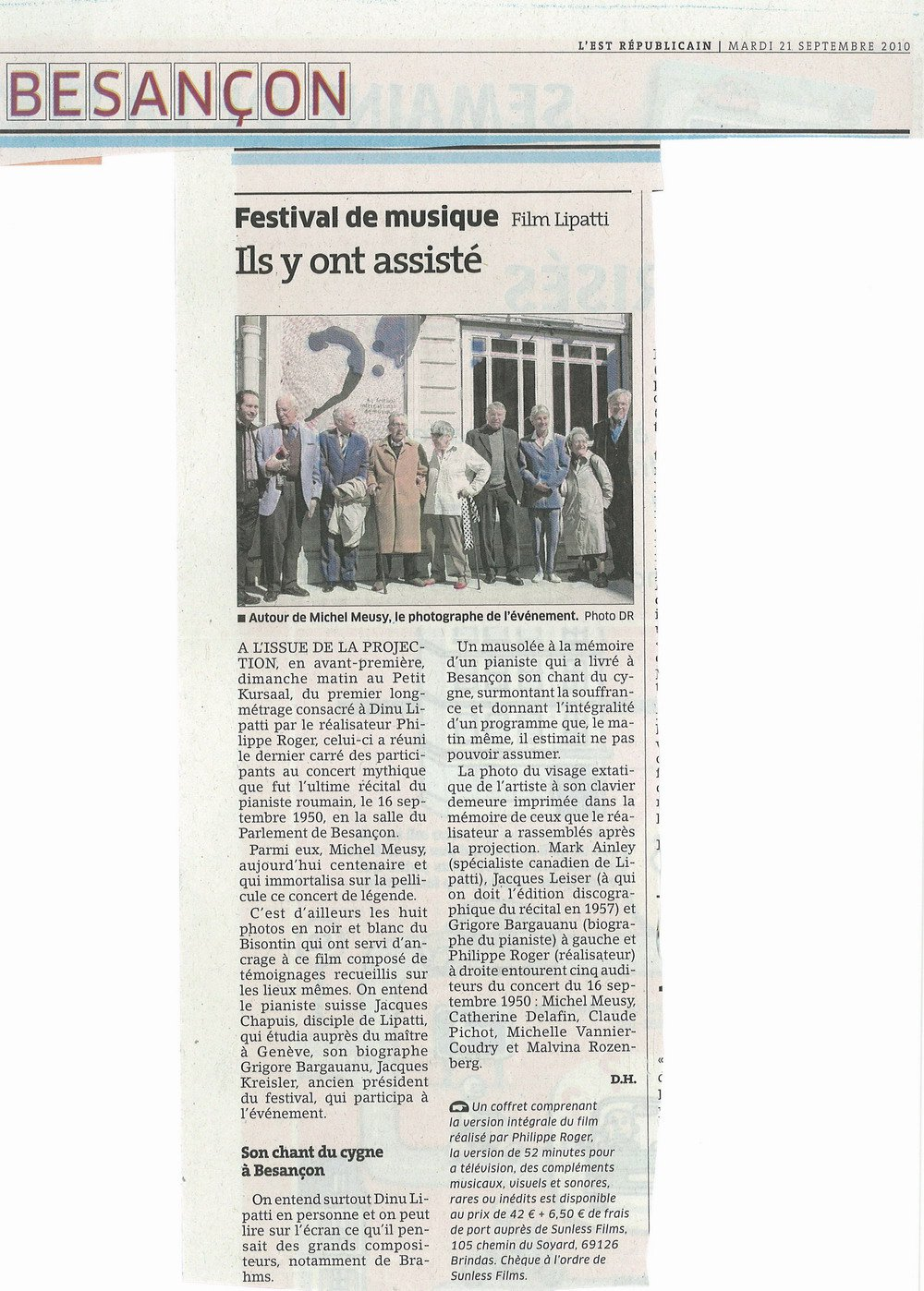 A news item about the screening of the film